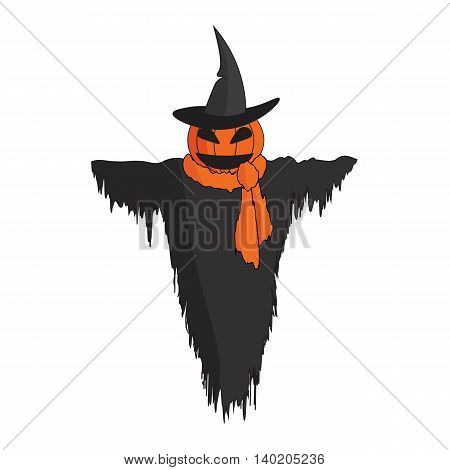 Cute cartoon Scarecrow with witch hat and a scarf.