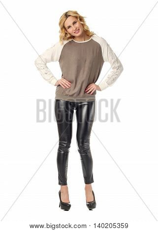 Extremely Beautiful Woman In Black Leather Leggings