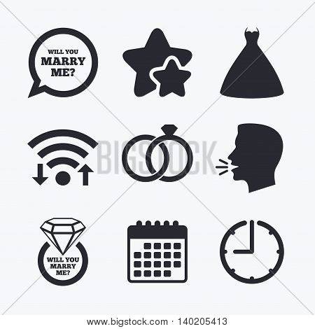 Wedding dress icon. Bride and groom rings symbol. Wedding or engagement day ring with diamond sign. Will you marry me speech bubble. Wifi internet, favorite stars, calendar and clock. Talking head. Vector