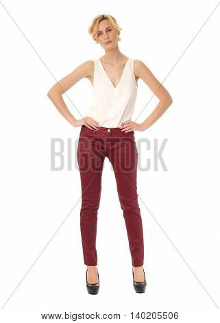 Extremely Beautiful Woman In Red Leather Pants