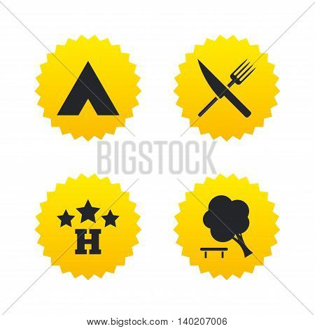 Food, hotel, camping tent and tree icons. Knife and fork. Break down tree. Road signs. Yellow stars labels with flat icons. Vector