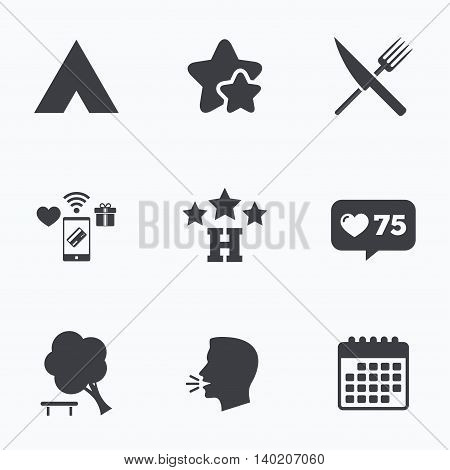 Food, hotel, camping tent and tree icons. Knife and fork. Break down tree. Road signs. Flat talking head, calendar icons. Stars, like counter icons. Vector