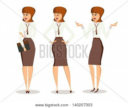 Three successful young business woman in office clothes in different poses making gestures. Isolated on white background. Cartoon style. Vector illustration