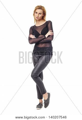 Extremely Beautiful Woman In Black Leather Pants