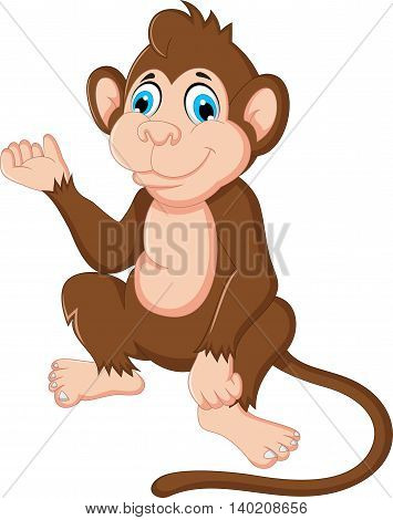 cute monkey cartoon sitting for you design