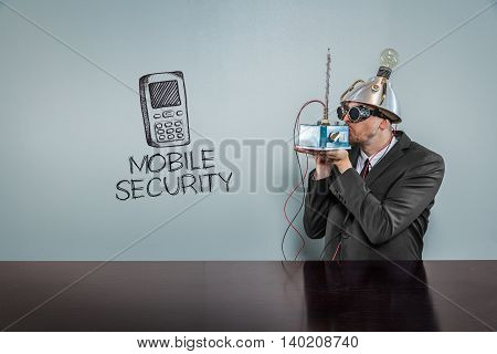 Mobile security text with vintage businessman kissing machine