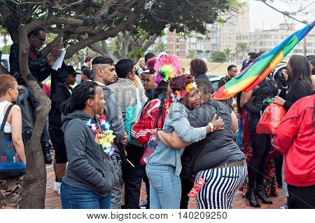 DURBAN SOUTH AFRICA - JULY 23 2016: Gay Pride celebration and parade at North Beach