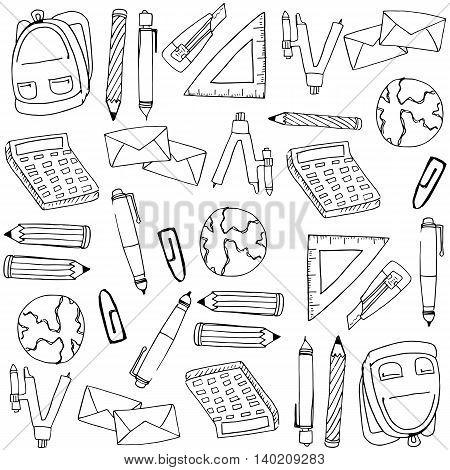 School supplies for kids doodles vector illustration