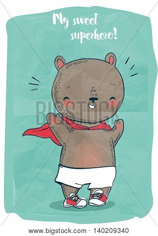 cute little doodle bear in warm clothes