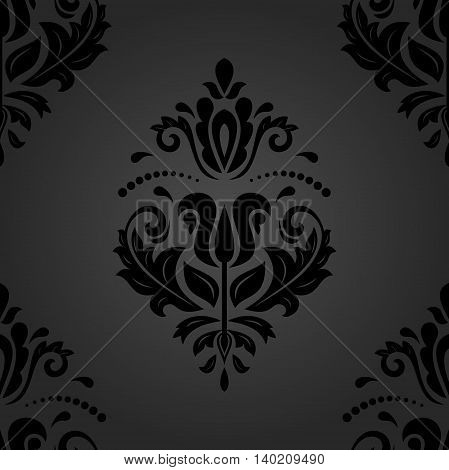 Oriental classic dark ornament. Seamless abstract background with repeating elements