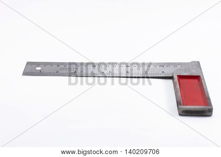 Machinist square tool isolated on white background.Household or equipment for handcraft.3