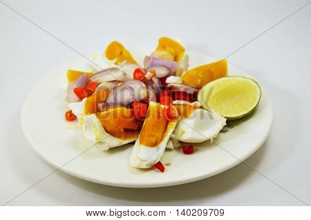 salted egg salad on dish in white background