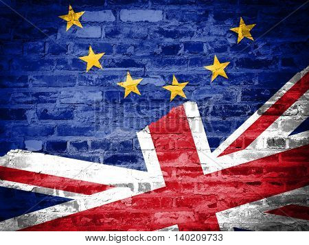 Flags of the United Kingdom and the European Union on old brick texture background