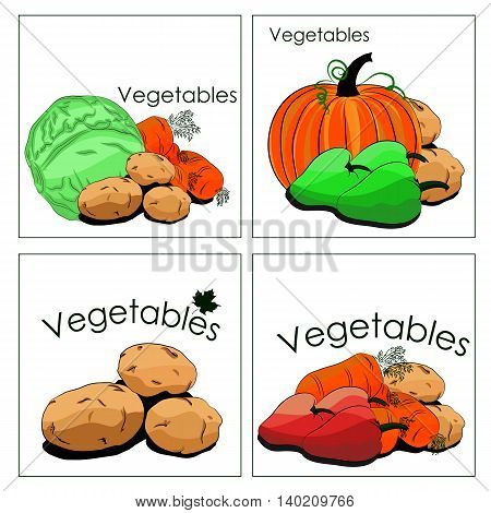 Set of stickers of vegetables in markets. It can be used for department in markets or stalls advertising and any other application