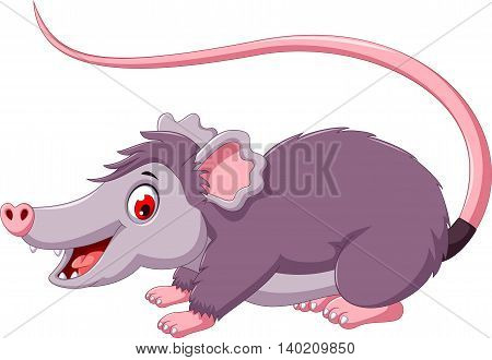 cute opossum cartoon posing for you design