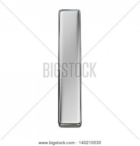 Chrome solid alphabet isolated on white - l lovercase letter