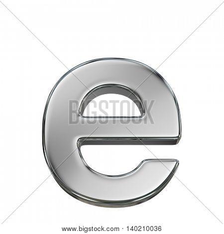 Chrome solid alphabet isolated on white - e lovercase letter