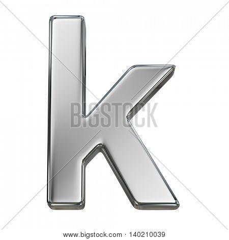 Chrome solid alphabet isolated on white - k lovercase letter