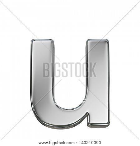 Chrome solid alphabet isolated on white - u lovercase letter