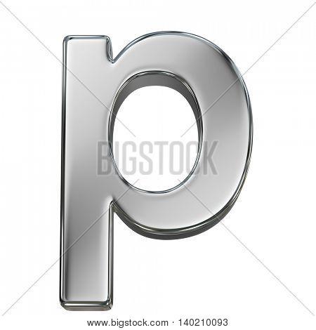 Chrome solid alphabet isolated on white - p lovercase letter