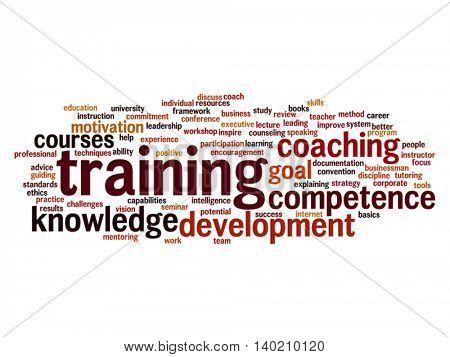 Vector concept or conceptual training, coaching or learning, study word cloud isolated on background