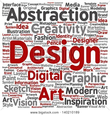 Vector concept or conceptual creativity art graphic design square word cloud isolated on background