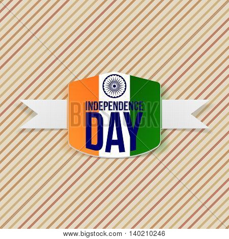 Indian Independence Day Emblem with Shadow. Vector Illustration