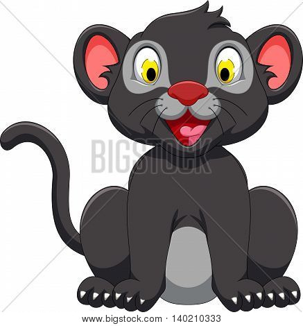 cute black panther sitting for you design