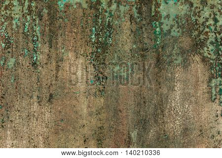 Old metal surface is covered with peeling green paint colors. background