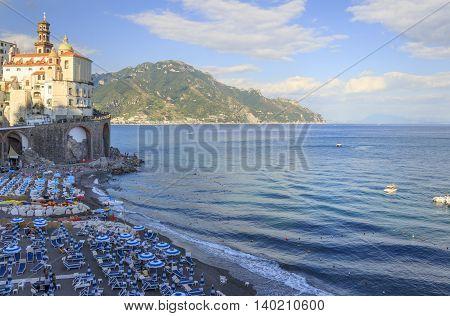 Italy seascape:Amalfi Coast (Costiera Amalfitana).View of Atrani marina.