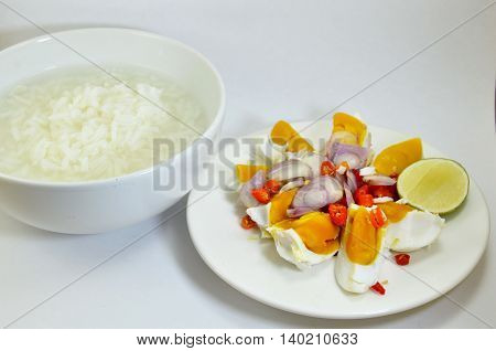 salted egg salad eat with soft boiled rice