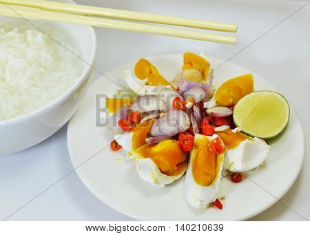 salted egg salad eat with rice porridge