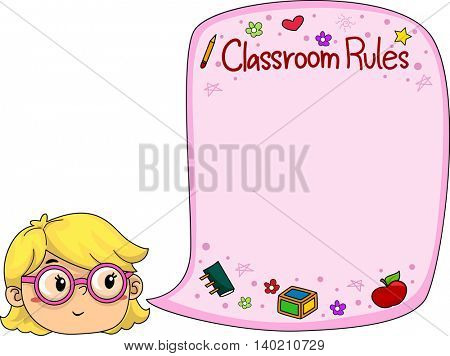 Illustration of a Little Girl Presenting Classroom Rules