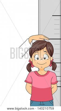 Illustration of a Little Girl Getting Her Height Measured