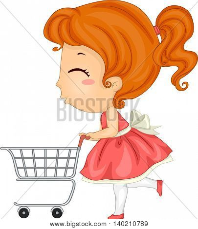 Illustration of a Little Girl Pushing a Shopping Cart