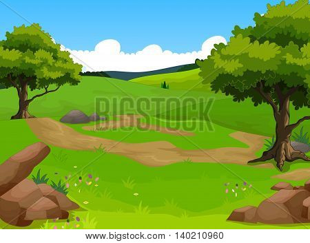 beauty green tree with forest landscape background
