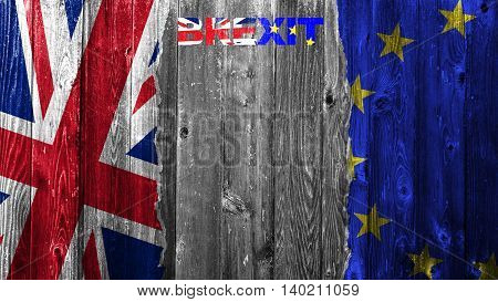Flags of the United Kingdom and the European Union on old wooden texture background