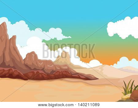 beauty desert with landscape background for you design