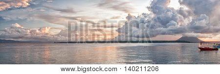 Indonesia Island Turquoise Tropical Paradise At Sunset