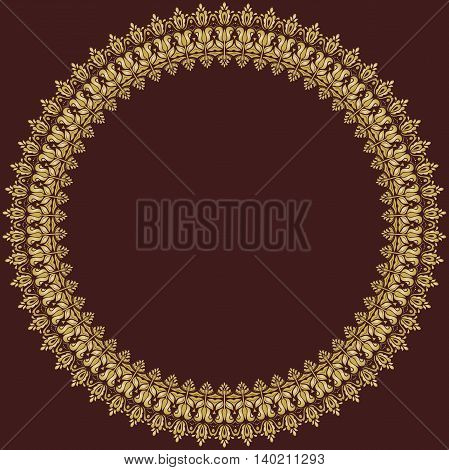 Oriental round golden frame with arabesques and floral elements. Floral fine border. Greeting card with place for text