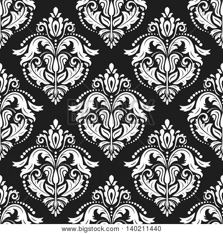 Oriental classic black and white ornament. Seamless abstract background with repeating elements