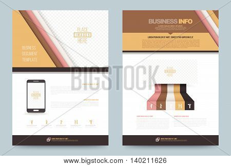 Brown Business annual report brochure flyer design template vector, Leaflet cover presentation abstract geometric background, modern publication poster magazine, layout in A4 size