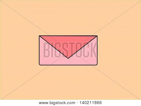 illustration depicting a colored envelope on bright background