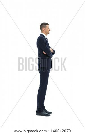 Side view of a smiling businessman,