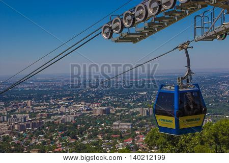 Almaty city view from Koktobe hill and cabin of cable car Kazakhstan