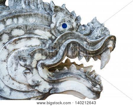 Statue of thai Lion head on white background