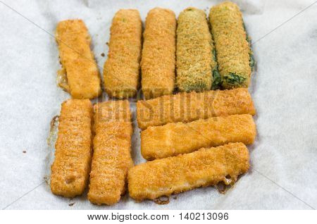 vegetable and fish fingers in a crisp breadcrumb coating