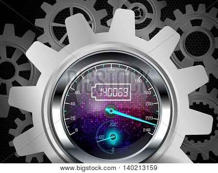 Illustration of Speedometer with metallic color gears