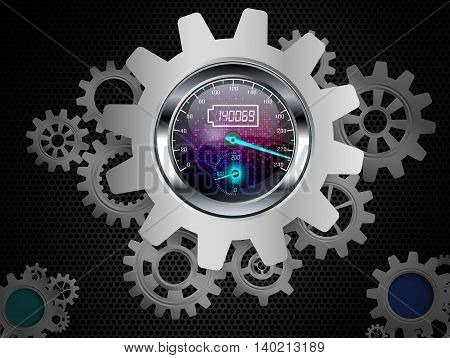 Illustration of Speedometer with gears on a black background