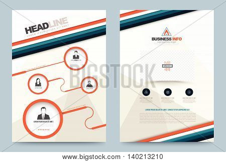 Annual report brochure flyer design template vector circle and strips style Leaflet cover presentation abstract technology background layout in A4 size. Vector illustration.